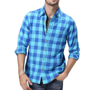 Hot Sale Men′s Cotton Check Woven Casual Blouse Shirt