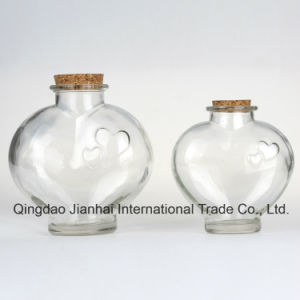 Two Size Heart Shape Wishing Glass Bottle for Home Decoration pictures & photos