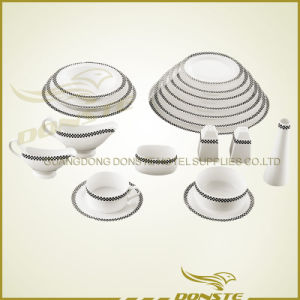Bone China Stained Ceramic Classic Grid Western Set pictures & photos