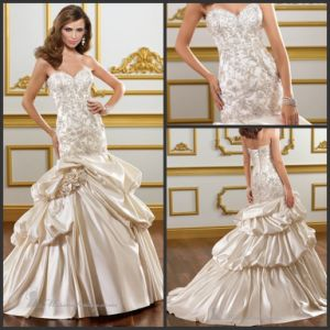 Strapless Satin Bridal Ball Gowns Champagne Lace Beads Wedding Dresses Mr1824 pictures & photos