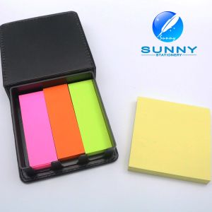 Promotional Logo Customized Sticky Note with Leather Cover pictures & photos