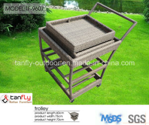 Elegant Garden Poly Rattan Food Serving Trolley pictures & photos