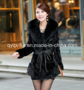 2015 New Fashion Women′s Mink Fur Coat with Fox Fur Collar pictures & photos