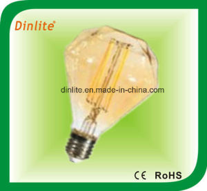 Diamond Shaped Golden LED Filament Light Bulb pictures & photos