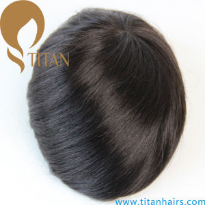 Hot Selling Thin Poly Base Remy Human Hair Toupee pictures & photos