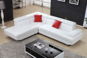 Pinyang Living White Color Small Corner Leather Sofa pictures & photos