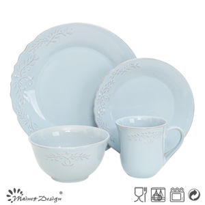 Elegant with Embossed Different Colorful Stoneware Dinner Set pictures & photos