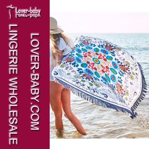 Tassel White Round Blanket Printed Beach Towels (L38359) pictures & photos