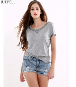 Summer Fashion New Women′s Round Neck Short Sleeve T-Shirt Solid Color Beading Casual Women Tshirt pictures & photos