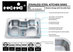 "24-3/8""X17-1/4"" Stainless Steel Top Mount Single Bowl Kitchen Sink pictures & photos"