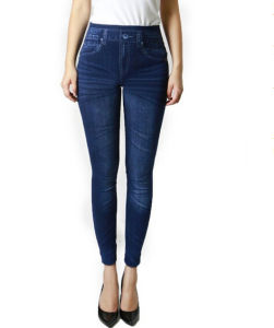 High Quality Women′s Spandex Skinny Jeans Fold Leggings (SR8210) pictures & photos