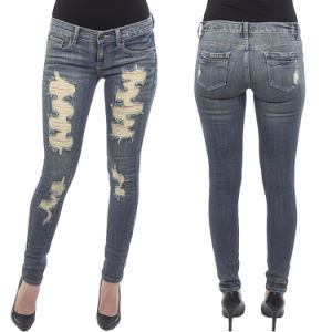 Custom Women′s Low Rise Destroyed Skinny Stretch Jeans pictures & photos