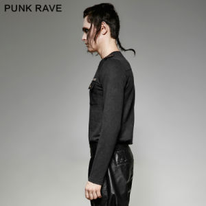 T-440 Punk Rave Stretchy Knitted Embroidery Retro Uniforms Vintage T-Shirt pictures & photos
