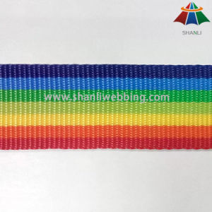 Good Quality 1.5 Inch 600d PP Striped Rainbow Webbing pictures & photos