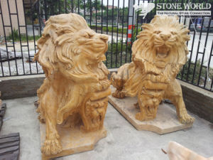 Lion Sculpture Hand Carving Yellow Marble for Home Decoration (SC-003) pictures & photos