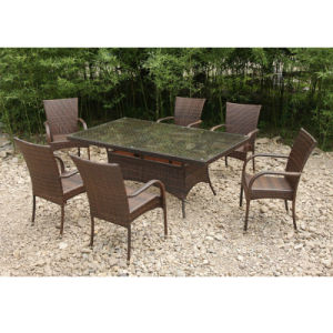 Garden Outdoor Rattan Furniture Dining Table 4 Chairs (FS-2055+ FS-2057) pictures & photos