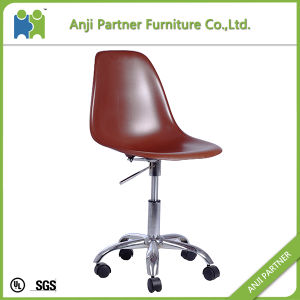 Deep Brown Armless Dining Chair with High PP Back and Movable Wheels (Helen) pictures & photos