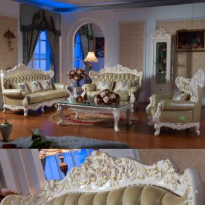 Antique Leather Sofa Set with Wood Table (D506)