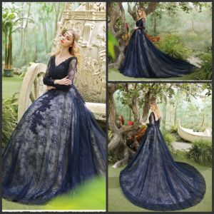 Navy Lace Party Prom Ball Gown Long Evening Dress Ld1768 pictures & photos