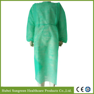 Disposable Non-Woven Green Isolation Gown pictures & photos