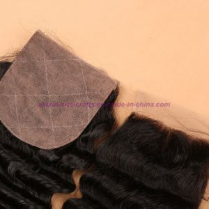 Indian Deep Wave Closure 4*4 Silk Base Closure 8A Unprocessed Hair Silk Base Closure pictures & photos
