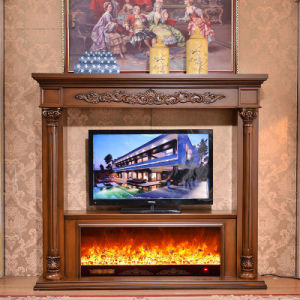 Indoor Use Hand Carved Wood Fireplace Mantel (GSP14-006) pictures & photos
