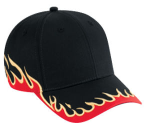 Flame Embroidery Bill Cotton Motercycle Racing Sport Cap pictures & photos