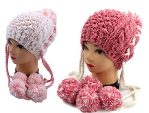 Hand Knitted Pineapple POM POM Winter Women Girl Beanie Hat pictures & photos