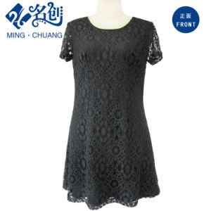 Hollowing-out Short Sleeve Perspective Rear-Zipper Inwrought Flower Pattern Slim Dress pictures & photos