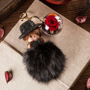 Promotion Preserved Flower Monchhichi Keychain for Gift pictures & photos