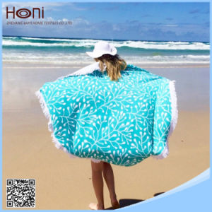 High Quanlity Cheap Wholesale Printed Round Beach Towel with Tassels pictures & photos
