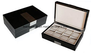 High Quality Watch Box Jewelry Organizer Brown Case with 12 Pillows Lockable (LW-JB0330) pictures & photos