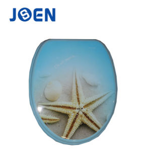 Starfish Hot Printing Toilet Seat in MDF Wood pictures & photos