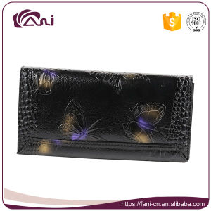 Card Wallet Leather, Real Leather Women′s Wallets with Printed Butterfly pictures & photos