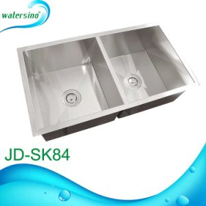 Hand Made Retangular Double Sink Kitchen Sink with 2 Bowls pictures & photos