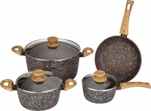 Stone-Look Forged Aluminum Pots and Pans with Wood-Look Handles