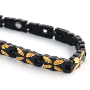 Good Quality Black Golden Titanium Bracelet Health Energy Jewelry 10123 pictures & photos