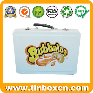 Rectangle Metal Candy Container with Handle, Confection Tin Box pictures & photos