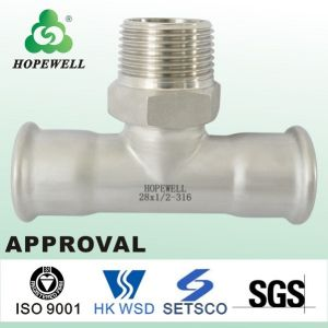 High Quality Inox Plumbing Sanitary Stainless Steel 304 316 Press Fitting Round Connector Water Hose to Pipe Fittings Tube Fittings pictures & photos