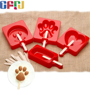 Smile Face Shaped FDA/LFGB Food Grade Silicone Ice Cream Tray Silicone Popsicle Ice Pop Molds pictures & photos