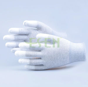 Factory Price Antistatic Carbon Fiber PU Coated ESD Safety Work Gloves pictures & photos