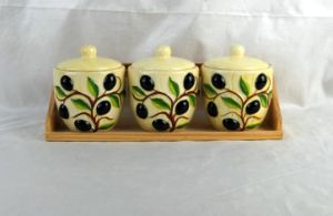 Set of 3 Ceramic Canisters with Wooden Stand pictures & photos
