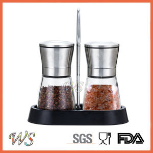 Ws-Pgs017 Salt and Pepper Mill Set with PP Stand Manual Pepper Grinder Set pictures & photos