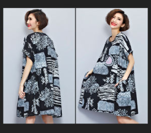 Casual Womens Loose Printing Cotton Linen Maxi Caftan (A988) pictures & photos