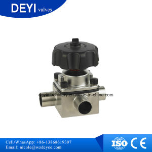 Stainless Steel Forge Three-Way Manual Welded Diaphragm Valve (DY-V100) pictures & photos