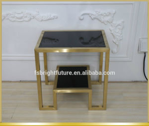 2017 Eurpean Style Brushed Golden Stainless Steel Side Table pictures & photos