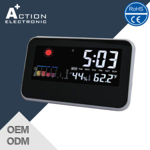 Sound Controlled Weather Station Digital Table Clock with Colorful LCD pictures & photos