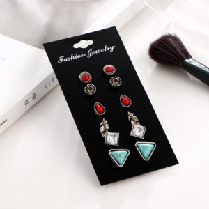 Vintage Leaf Stud Earring Sets for Women Crystal Turquoise and Red Stone Set De Aros