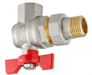 Female/Male Thread Angle Type Brass Butterfly Ball Valve pictures & photos