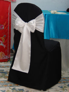 Black Chair Cover With Sash / Wedding Chair Cover